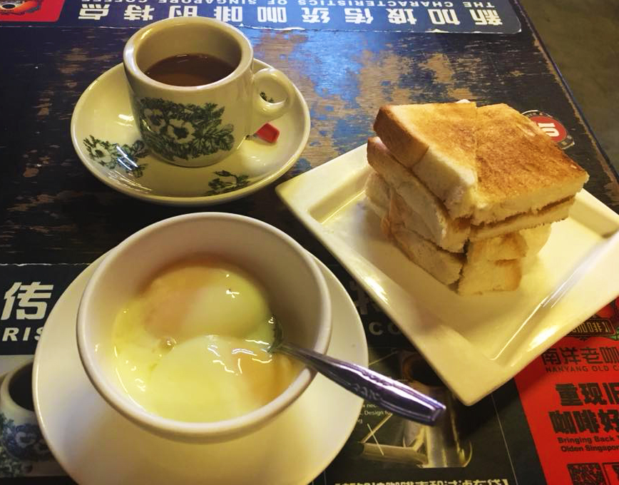 Kaya toast and soft boiled eggs, Singaporean breakfast