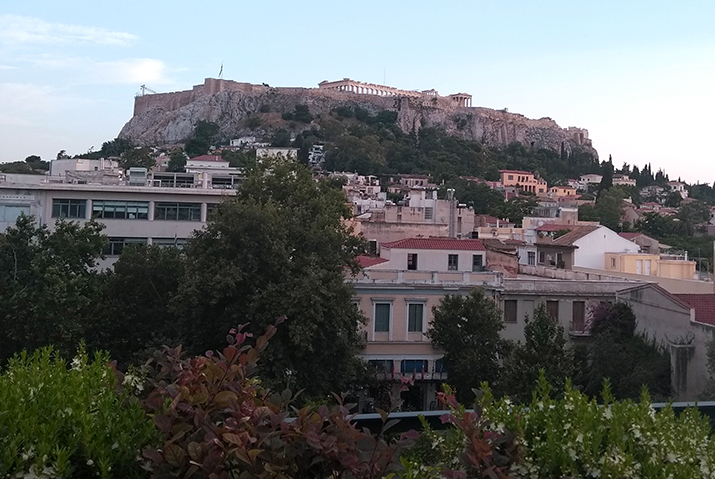 Acropolis view from rooftop bar athens in summer