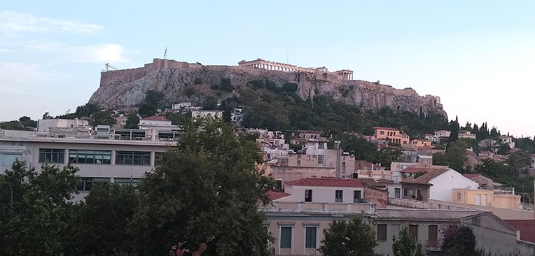 Acropolis view from rooftop